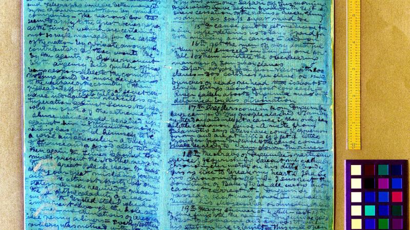 Livingstone, The 1871 Field Diary, examined with spectral imaging.