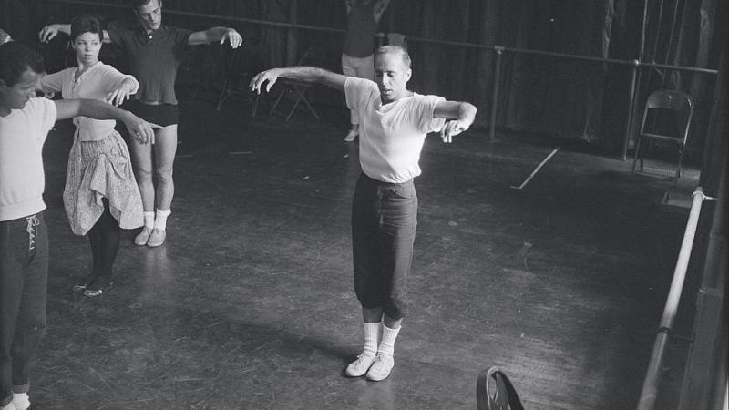 Jerome Robbins directing dancers during rehearsal for the stage production of 'West Side Story' in 1957.