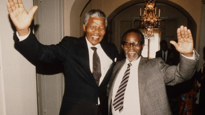 The reunion of Nelson Mandela and Oliver Tambo, Sweden, 1990.