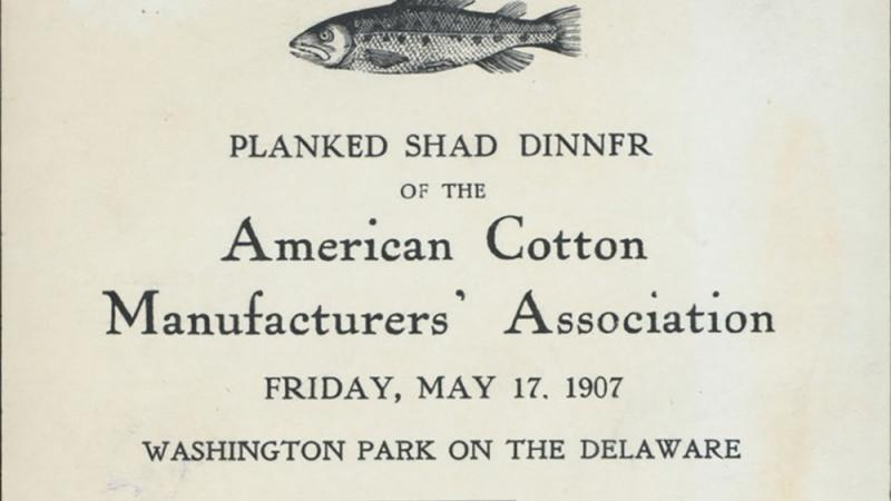 American Cotton Manufacturers' Association dinner menu, May 17, 1907