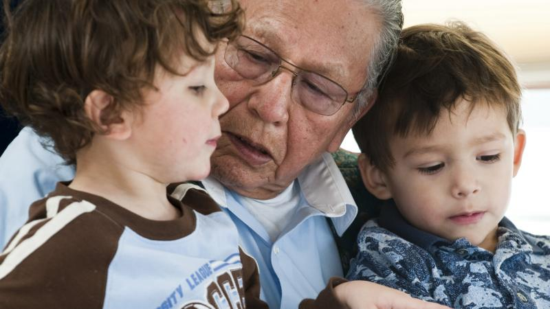 elder with children