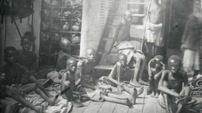 Enslaved children aboard ship